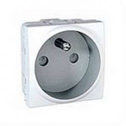 Prise de Courant 2P+T 10/16A Connexion Rapide 2 Modules - Blanc Schneider Unica