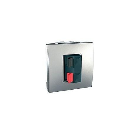 prise haut parleur 2 modules aluminium schneider unica. Black Bedroom Furniture Sets. Home Design Ideas