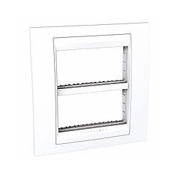 Plaque de Finition et support 2x4 Modules - Blanc Schneider Unica liseré Blanc Schneider Unica