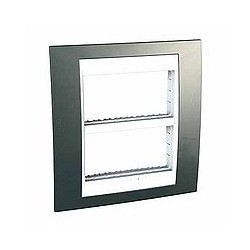 Plaque de Finition et support 2x4 Modules - Champagne liseré Blanc Schneider Unica
