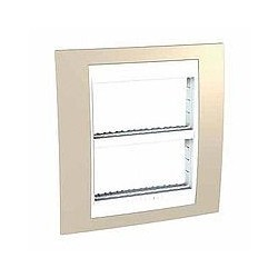 Plaque de Finition et support 2x4 Modules - Sable liseré Blanc Schneider Unica