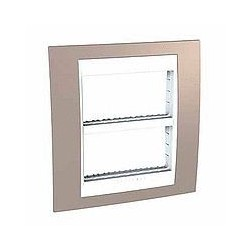 Plaque de Finition et support 2x4 Modules - Vison liseré Blanc Schneider Unica