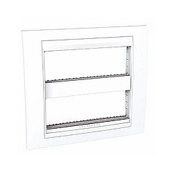 Plaque de Finition et support 2x6 Modules - Blanc Schneider Unica liseré Blanc Schneider Unica