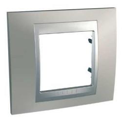 Plaque de Finition 1 Poste 2 Modules - Nickel Mat liseré Aluminium Schneider Unica