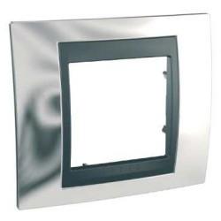 Plaque de Finition 1 Poste 2 Modules - Chrome Brillant Graphite Aluminium Schneider Unica