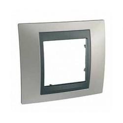 Plaque de Finition 1 Poste 2 Modules - Nickel Mat Graphite Aluminium Schneider Unica