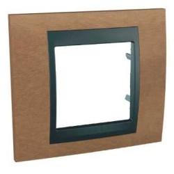 Plaque de Finition 1 Poste 2 Modules - Cerisier Graphite Aluminium Schneider Unica