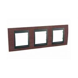 Plaque de Finition 3 Postes 3x2 Modules horizontal 71mm - Tabac Graphite Aluminium Schneider Unica