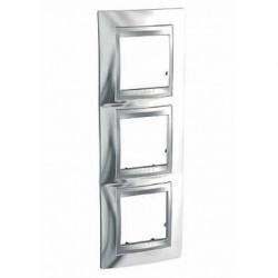 Plaque de Finition 3 Postes 3x2 Modules vertical 71mm - Chrome Brillant liseré Aluminium Schneider Unica