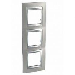 Plaque de Finition 3 Postes 3x2 Modules vertical 71mm - Nickel Mat liseré Aluminium Schneider Unica