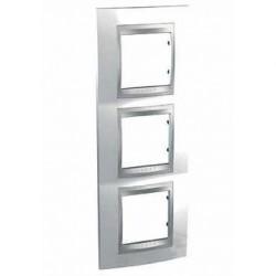 Plaque de Finition 3 Postes 3x2 Modules vertical 71mm - Blanc Techno liseré Aluminium Schneider Unica