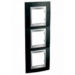 Plaque de Finition 3 Postes 3x2 Modules vertical 71mm - Noir Rhodium liseré Aluminium Schneider Unica