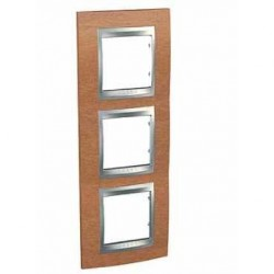 Plaque de Finition 3 Postes 3x2 Modules vertical 71mm - Cerisier liseré Aluminium Schneider Unica