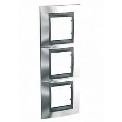 Plaque de Finition 3 Postes 3x2 Modules vertical 71mm - Chrome Brillant Graphite Aluminium Schneider Unica