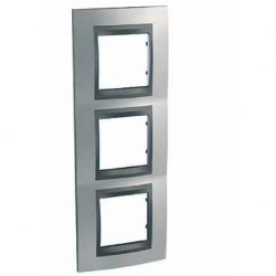 Plaque de Finition 3 Postes 3x2 Modules vertical 71mm - Chrome Satiné Graphite Aluminium Schneider Unica