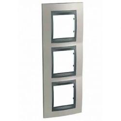 Plaque de Finition 3 Postes 3x2 Modules vertical 71mm - Nickel Mat Graphite Aluminium Schneider Unica