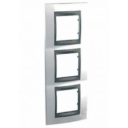 Plaque de Finition 3 Postes 3x2 Modules vetical 71mm - Blanc Techno Graphite Aluminium Schneider Unica