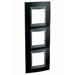 Plaque de Finition 3 Postes 3x2 Modules vertical 71mm - Noir Rhodium Graphite Aluminium Schneider Unica