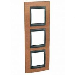 Plaque de Finition 3 Postes 3x2 Modules vertical 71mm - Cerisier Graphite Aluminium Schneider Unica