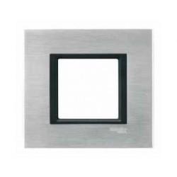 Plaque de Finition 1 Poste 2 Modules - Aluminium Ice liseré Noir Schneider Unica