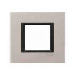 Plaque de Finition 1 Poste 2 Modules - Aluminium Apple liseré Noir Schneider Unica