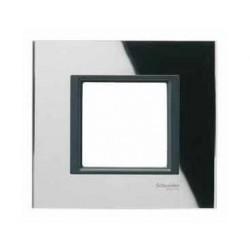 Plaque de Finition 1 Poste 2 Modules - Miroir Noir liseré Noir Schneider Unica