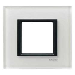 Plaque de Finition 1 Poste 2 Modules - Verre Blanc liseré Noir Schneider Unica