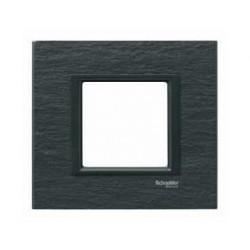 Plaque de Finition 1 Poste 2 Modules - Ardoise liseré Noir Schneider Unica