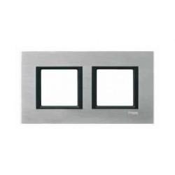 Plaque de Finition 2 Postes 2x2 Modules 71mm - Aluminium Ice liseré Noir Schneider Unica