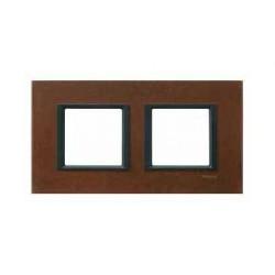 Plaque de Finition 2 Postes 2x2 Modules 71mm - Oxyde liseré Noir Schneider Unica