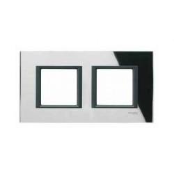 Plaque de Finition 2 Postes 2x2 Modules 71mm - Miroir Noir liseré Noir Schneider Unica