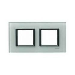 Plaque de Finition 2 Postes 2x2 Modules 71mm - Verre Gris liseré Noir Schneider Unica