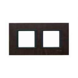 Plaque de Finition 2 Postes 2x2 Modules 71mm - Cuir Truffe liseré Noir Schneider Unica