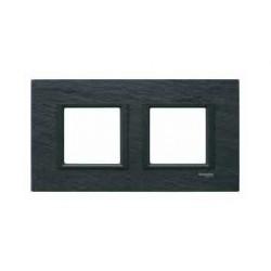 Plaque de Finition 2 Postes 2x2 Modules 71mm - Ardoise liseré Noir Schneider Unica