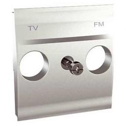 Couvercle TV/FM 2 Modules - Aluminium Schneider Unica