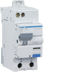Disjoncteur Différentiel Hager 16A AC 30mA Courbe C 1P+N 3kA