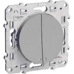 Interrupteur Double Va et vient Lumineux (1 avec LED, 1 sans LED) Alu Schneider Odace