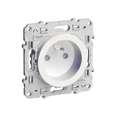 Prise de courant 2P+T Blanc Schneider Odace a Connexion Rapide