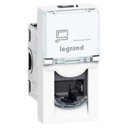 Prise RJ45 Cat. 6 STP Legrand Mosaic - Blindage métal 1 module - blanc - LCS²