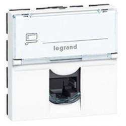 Prise RJ 11 Legrand Mosaic - 4 contacts - 2 modules - blanc