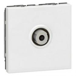Prise TV Legrand Mosaic - Type ''F'' a visser - 2 modules - blanc