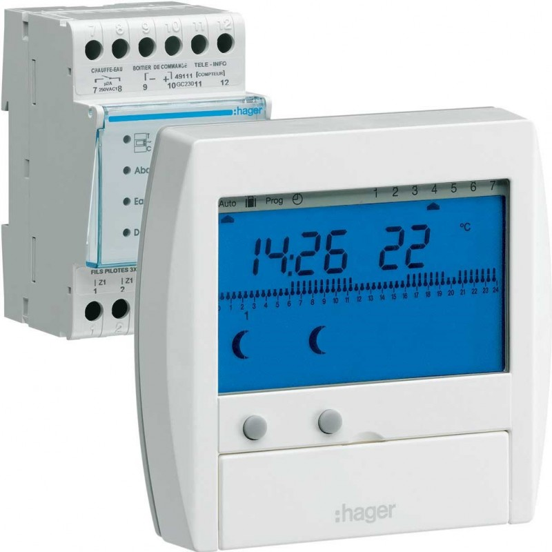 Gestionnaire d energie hager confort 2 zones 7jours 49111 - Gestionnaire d energie hager ...