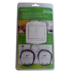Kit mixte double poussoir et variateur interrupteur domotique Moeller