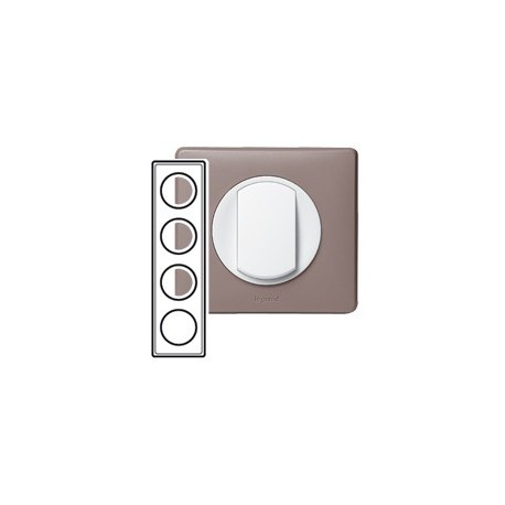 Plaque taupe 4 postes Legrand celiane entraxe 71mm