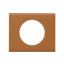 Kit Plaque 1 Poste CUIR CARAMEL + Support - Legrand