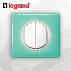 Poussoir Double complet Legrand Celiane 50's Turquoise (doigt large)