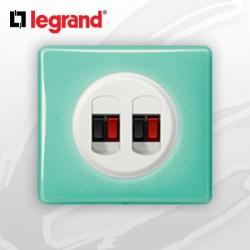 Prise HP double complete Legrand Celiane 50's Turquoise