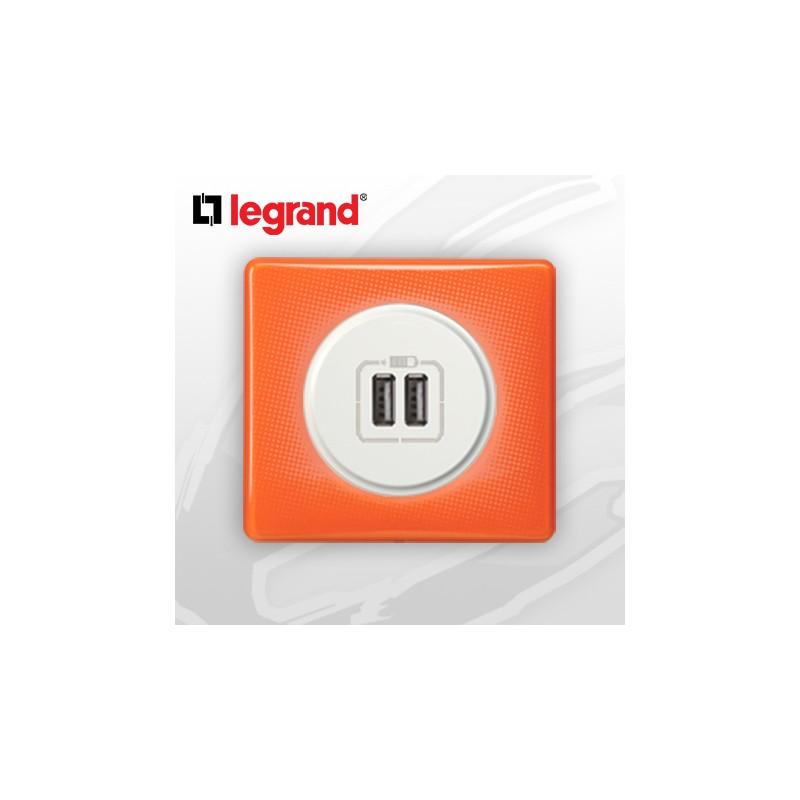 legrand c liane complet memories prise usb double 70 39 s orange. Black Bedroom Furniture Sets. Home Design Ideas