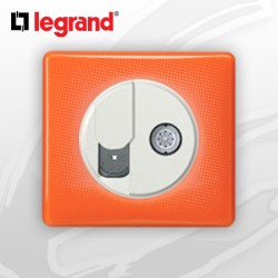 Prise RJ45 Cat 6 + TV complete Legrand Celiane 70's Orange
