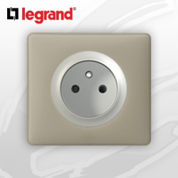 Prise 2P+T complete Legrand Celiane Argile Poudré
